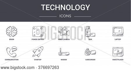 Technology Concept Line Icons Set. Contains Icons Usable For Web, Logo, Ui Ux Such As Power Switch,