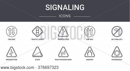 Signaling Concept Line Icons Set. Contains Icons Usable For Web, Logo, Ui Ux Such As Traffic Lights,