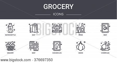 Grocery Concept Line Icons Set. Contains Icons Usable For Web, Logo, Ui Ux Such As Map, Drink, Groce