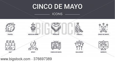 Cinco De Mayo Concept Line Icons Set. Contains Icons Usable For Web, Logo, Ui Ux Such As Mexican Man