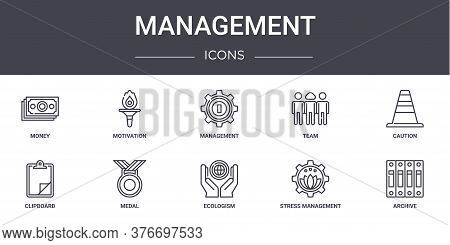 Management Concept Line Icons Set. Contains Icons Usable For Web, Logo, Ui Ux Such As Motivation, Te