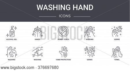 Washing Hand Concept Line Icons Set. Contains Icons Usable For Web, Logo, Ui Ux Such As Hands, Washi