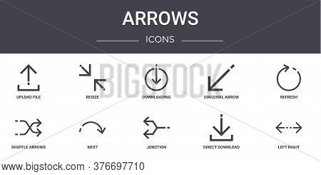 Arrows Concept Line Icons Set. Contains Icons Usable For Web, Logo, Ui Ux Such As Resize, Diagonal A