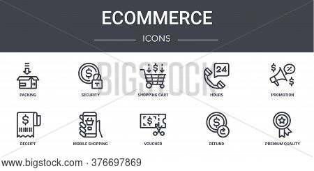 Ecommerce Concept Line Icons Set. Contains Icons Usable For Web, Logo, Ui Ux Such As Security, Hours