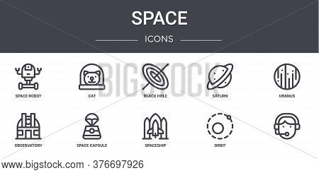 Space Concept Line Icons Set. Contains Icons Usable For Web, Logo, Ui Ux Such As Cat, Saturn, Observ