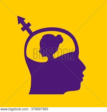 Transgender Transsexual Concept. Unconventional Sexual Orientation Symbol. Profile Of The Head Of A