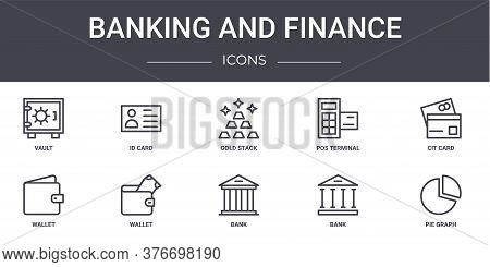 Banking And Finance Concept Line Icons Set. Contains Icons Usable For Web, Logo, Ui Ux Such As Id Ca