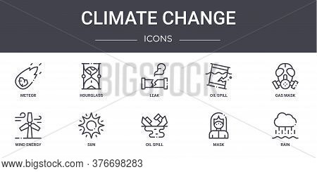 Climate Change Concept Line Icons Set. Contains Icons Usable For Web, Logo, Ui Ux Such As Hourglass,