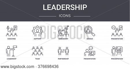 Leadership Concept Line Icons Set. Contains Icons Usable For Web, Logo, Ui Ux Such As Support, Searc