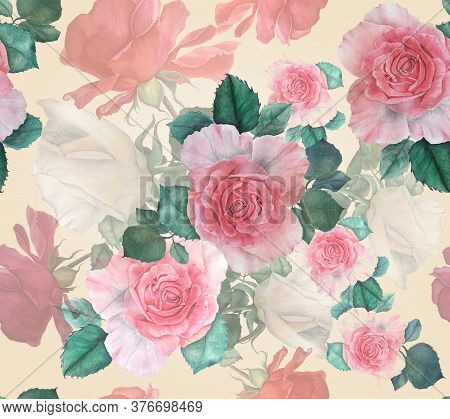 Vintage Floral Seamless Pattern. Watercolor Flowers: Pink, Red And White Roses With Green Leaves. Bo