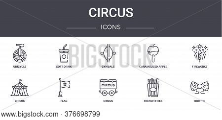Circus Concept Line Icons Set. Contains Icons Usable For Web, Logo, Ui Ux Such As Soft Drink, Carame