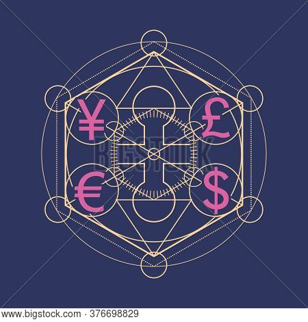 Mystical Geometry Symbol. Linear Alchemy, Occult, Philosophical Sign With Currency Simbols