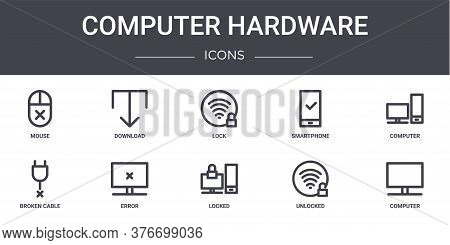 Computer Hardware Concept Line Icons Set. Contains Icons Usable For Web, Logo, Ui Ux Such As Downloa