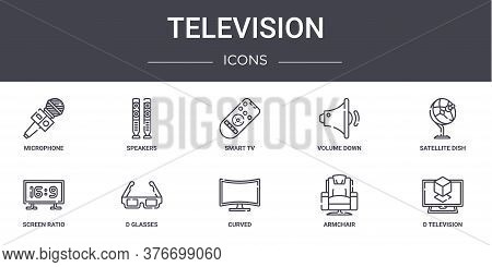 Television Concept Line Icons Set. Contains Icons Usable For Web, Logo, Ui Ux Such As Speakers, Volu