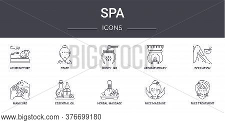 Spa Concept Line Icons Set. Contains Icons Usable For Web, Logo, Ui Ux Such As Staff, Aromatherapy,