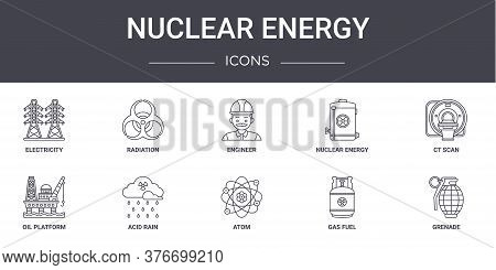 Nuclear Energy Concept Line Icons Set. Contains Icons Usable For Web, Logo, Ui Ux Such As Radiation,