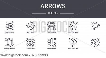 Arrows Concept Line Icons Set. Contains Icons Usable For Web, Logo, Ui Ux Such As Left Turn, Arrow U