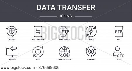 Data Transfer Concept Line Icons Set. Contains Icons Usable For Web, Logo, Ui Ux Such As File Transf