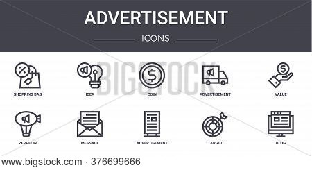 Advertisement Concept Line Icons Set. Contains Icons Usable For Web, Logo, Ui Ux Such As Idea, Adver