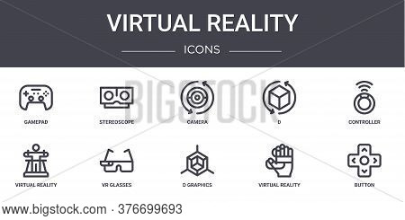 Virtual Reality Concept Line Icons Set. Contains Icons Usable For Web, Logo, Ui Ux Such As Stereosco
