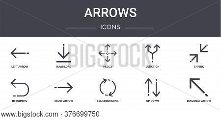 Arrows Concept Line Icons Set. Contains Icons Usable For Web, Logo, Ui Ux Such As Download, Junction