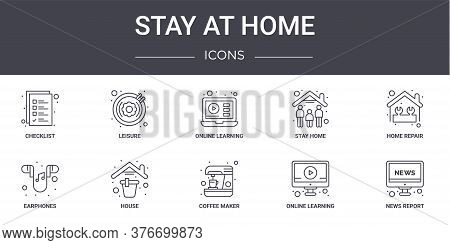 Stay At Home Concept Line Icons Set. Contains Icons Usable For Web, Logo, Ui Ux Such As Leisure, Sta