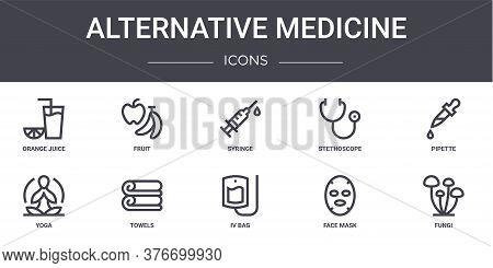 Alternative Medicine Concept Line Icons Set. Contains Icons Usable For Web, Logo, Ui Ux Such As Frui