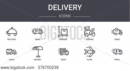 Delivery Concept Line Icons Set. Contains Icons Usable For Web, Logo, Ui Ux Such As Truck, Scooter,
