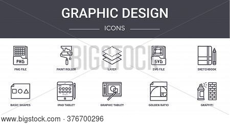Graphic Design Concept Line Icons Set. Contains Icons Usable For Web, Logo, Ui Ux Such As Paint Roll