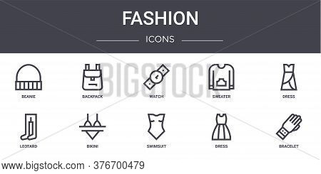 Fashion Concept Line Icons Set. Contains Icons Usable For Web, Logo, Ui Ux Such As Backpack, Sweater