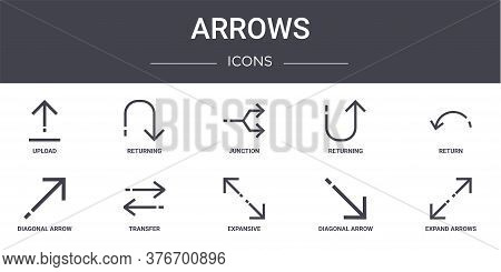 Arrows Concept Line Icons Set. Contains Icons Usable For Web, Logo, Ui Ux Such As Returning, Returni