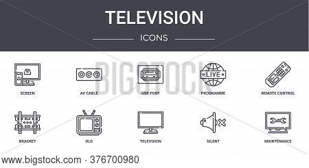 Television Concept Line Icons Set. Contains Icons Usable For Web, Logo, Ui Ux Such As Av Cable, Prog