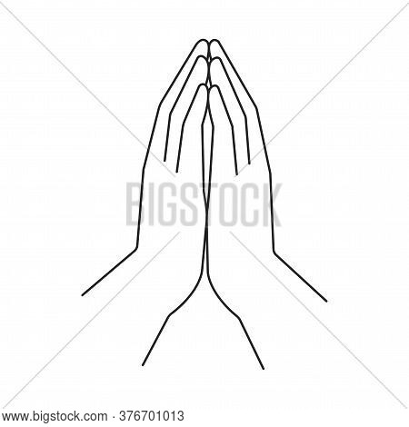 Vector Image Of Hands In Prayer. Illustration Of Faith In God. Symbol Of Religiosity And Christianit