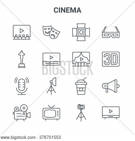 Set Of 16 Cinema Concept Vector Line Icons. 64x64 Thin Stroke Icons Such As Theater, Oscar, D Movie,