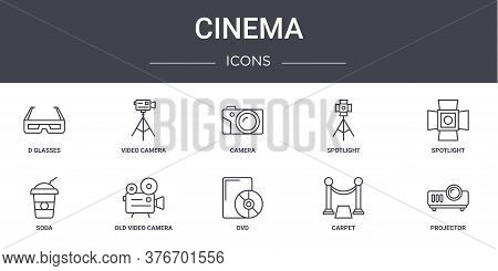 Cinema Concept Line Icons Set. Contains Icons Usable For Web, Logo, Ui Ux Such As Video Camera, Spot