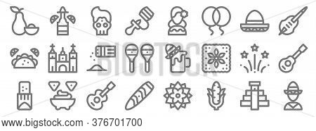 Cinco De Mayo Line Icons. Linear Set. Quality Vector Line Set Such As Mexican, Corn, Cigar, Tamales,