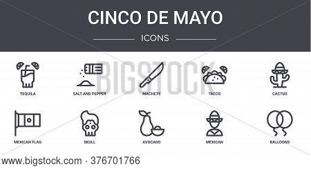 Cinco De Mayo Concept Line Icons Set. Contains Icons Usable For Web, Logo, Ui Ux Such As Salt And Pe