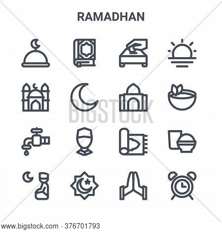 Set Of 16 Ramadhan Concept Vector Line Icons. 64x64 Thin Stroke Icons Such As Quran, Mosque, Tea, Sa