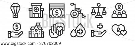 12 Set Of Linear Charity Icons. Thin Outline Icons Such As Charity, Blood Drop, School, Balance, Mon