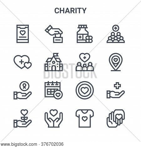 Set Of 16 Charity Concept Vector Line Icons. 64x64 Thin Stroke Icons Such As Donation, Charity, Dona