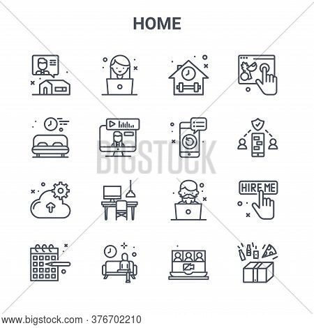 Set Of 16 Home Concept Vector Line Icons. 64x64 Thin Stroke Icons Such As Girl, Rest Time, Security,