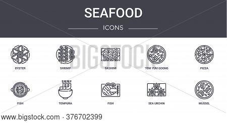 Seafood Concept Line Icons Set. Contains Icons Usable For Web, Logo, Ui Ux Such As Shrimp, Tom Yum G