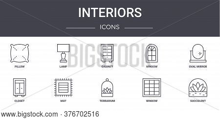 Interiors Concept Line Icons Set. Contains Icons Usable For Web, Logo, Ui Ux Such As Lamp, Window, C