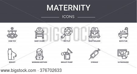 Maternity Concept Line Icons Set. Contains Icons Usable For Web, Logo, Ui Ux Such As Baby Chair, Bab
