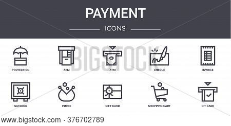 Payment Concept Line Icons Set. Contains Icons Usable For Web, Logo, Ui Ux Such As Atm, Cheque, Safe