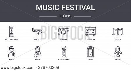 Music Festival Concept Line Icons Set. Contains Icons Usable For Web, Logo, Ui Ux Such As Bracelet,