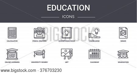 Education Concept Line Icons Set. Contains Icons Usable For Web, Logo, Ui Ux Such As Pencil Crayons,