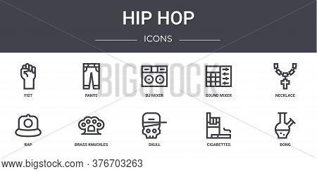 Hip Hop Concept Line Icons Set. Contains Icons Usable For Web, Logo, Ui Ux Such As Pants, Sound Mixe