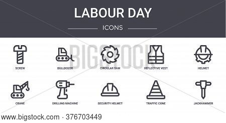 Labour Day Concept Line Icons Set. Contains Icons Usable For Web, Logo, Ui Ux Such As Bulldozer, Ref