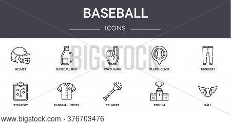 Baseball Concept Line Icons Set. Contains Icons Usable For Web, Logo, Ui Ux Such As Baseball Bag, Pl